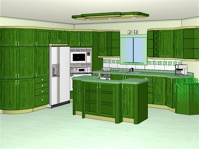 Decotech pro gallery normal 3d perspectives green for Kitchen designs normal