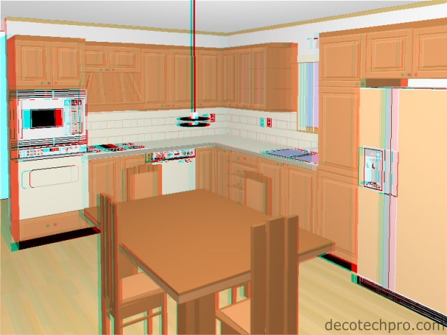 Decotech Pro Gallery Stereoscopic 3d Perspectives Green Kitchen Rca
